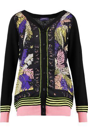 Emilio Pucci Woman Cotton And Printed Silk-twill Cardigan Black