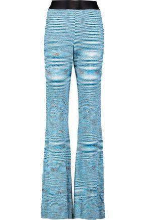 Ellery Woman Mercury MÉlange Ribbed-knit Flared Pants Blue