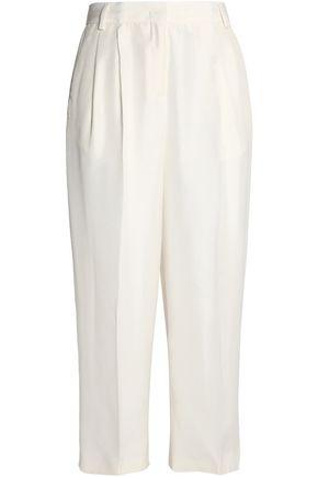 Vionnet Woman Pleated Silk-shantung Culottes Ivory