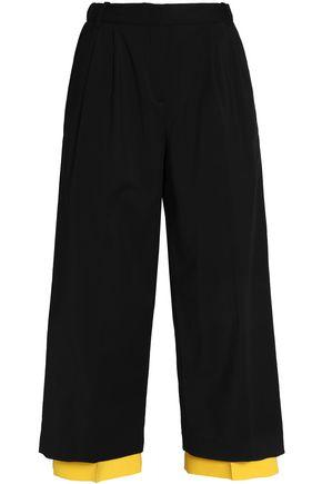 Vionnet Layered Pleated Cotton-blend Culottes In Black