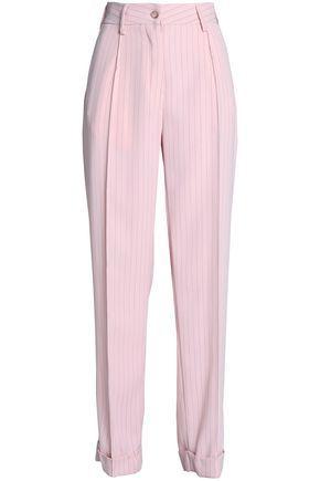 Mm6 Maison Margiela Woman Pinstriped Crepe Straight-leg Pants Baby Pink