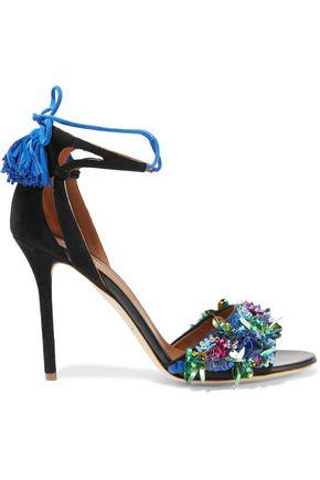Malone Souliers Woman Gladys Embellished Satin And Suede Sandals Black