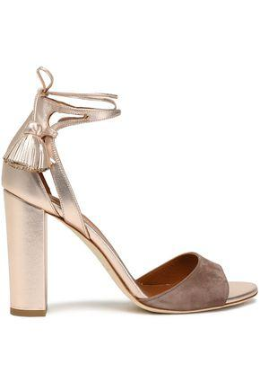 Malone Souliers Woman Cutout Metallic Leather And Suede Sandals Gold