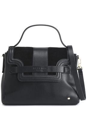 Halston Heritage Woman Suede-paneled Leather Shoulder Bag Black