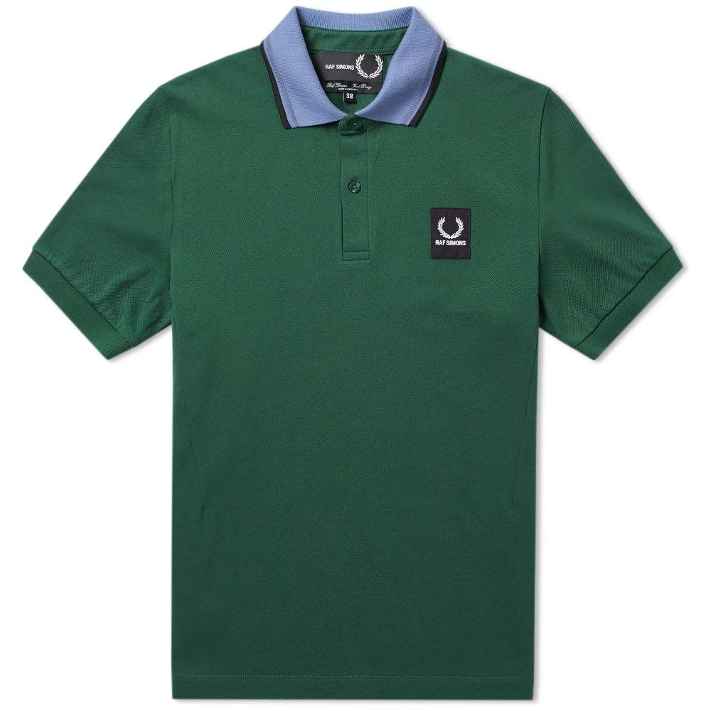 Raf Simons Fred Perry X  Contrast Collar Pique Polo In Green