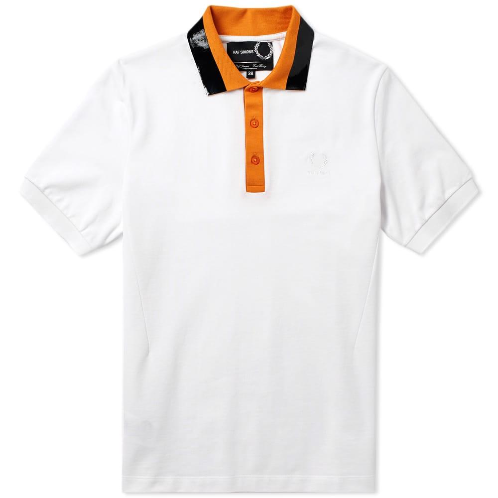 Raf Simons Fred Perry X  Tape Collar Pique Polo In White