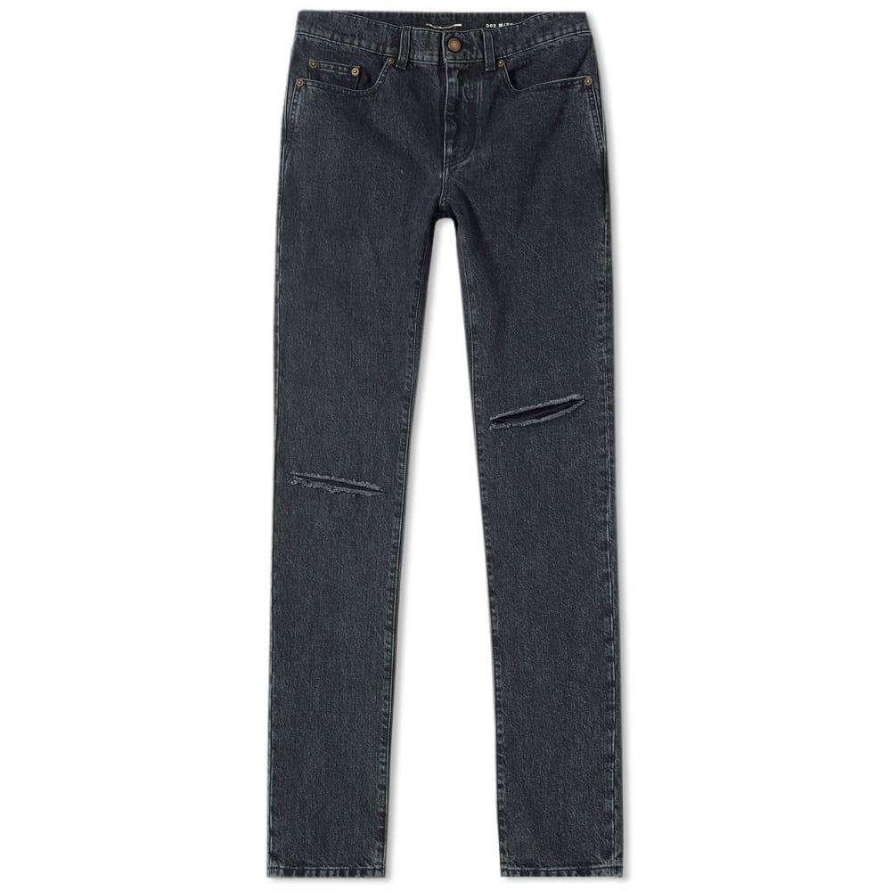 Saint Laurent Low Rise Skinny Trash Jean In Black