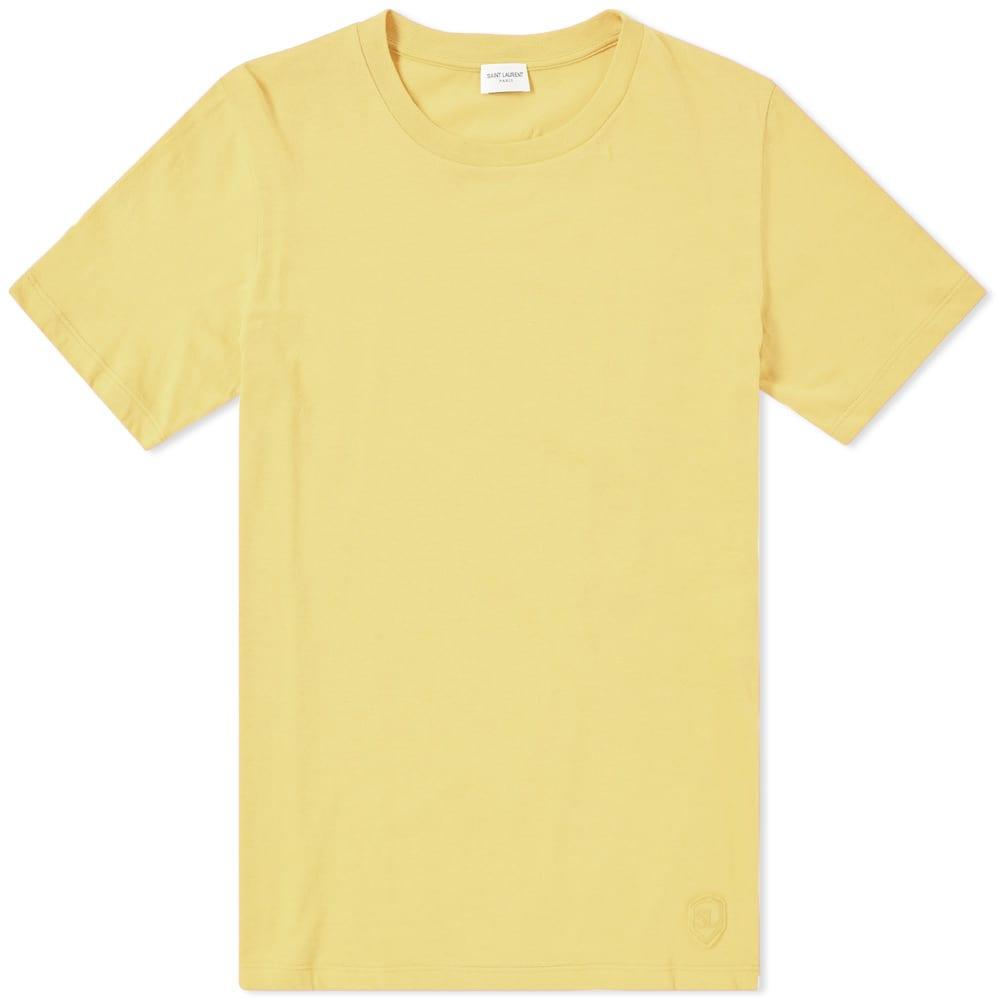 Saint Laurent Classic Patch Tee In Yellow