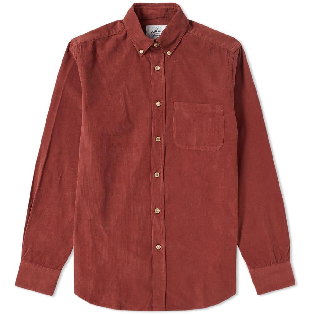 Portuguese Flannel Button Down Lobbo Corduroy Shirt In Orange