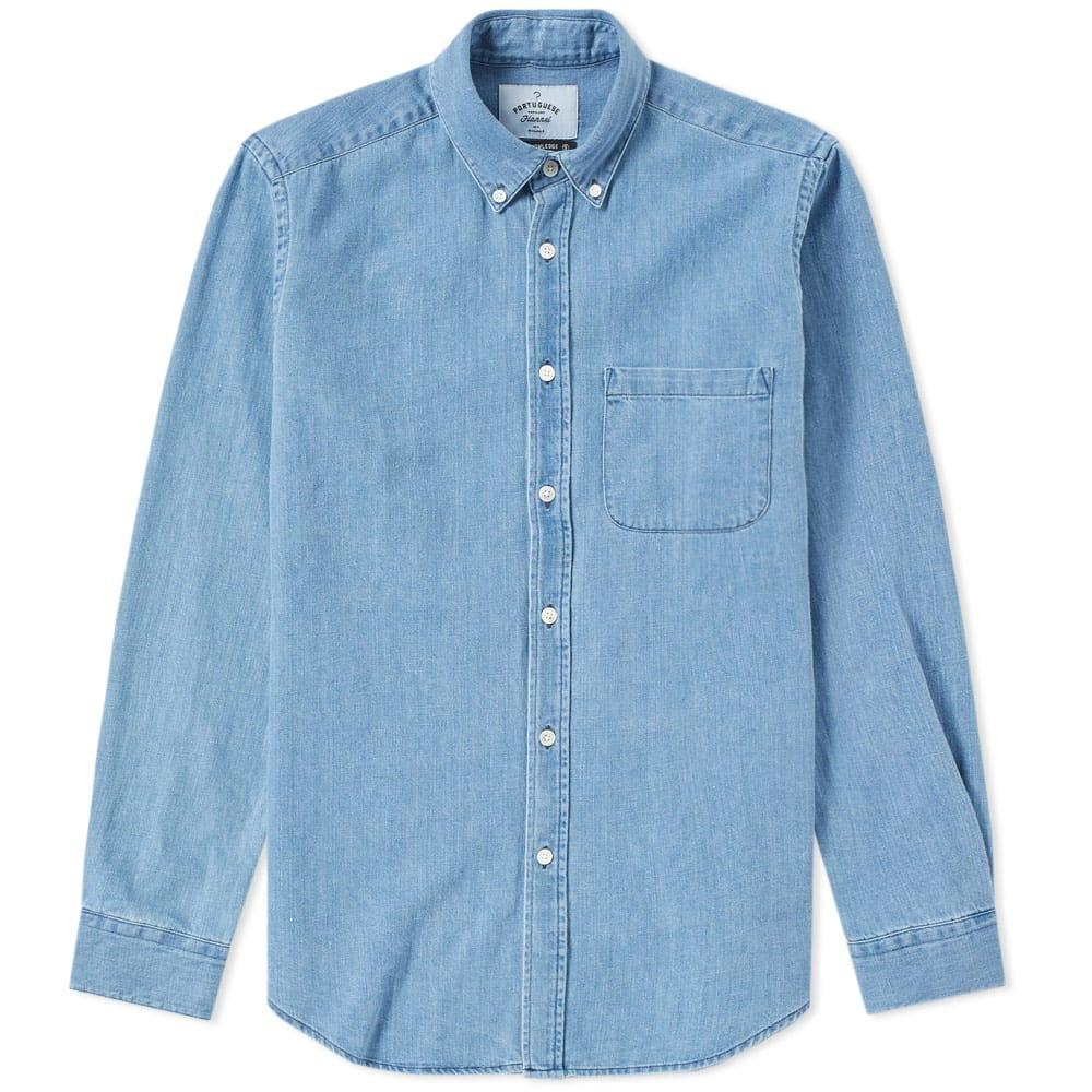 Portuguese Flannel Button Down Ganga Denim Shirt In Blue