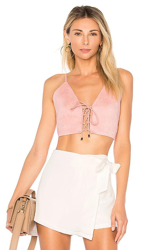 By The Way. Crystal Faux Suede Top In Blush.
