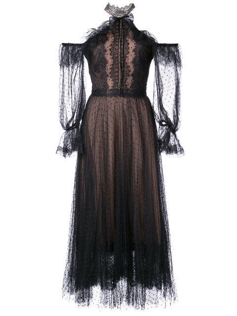 Marchesa Notte Black Poin-d' Esprit Midi Tea Dress