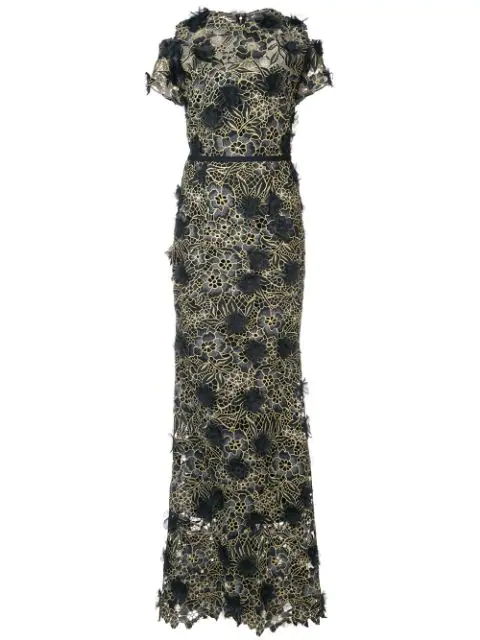 4b398cd5 Marchesa Notte Black Short Sleeve Floral Guipure Lace Gown | ModeSens