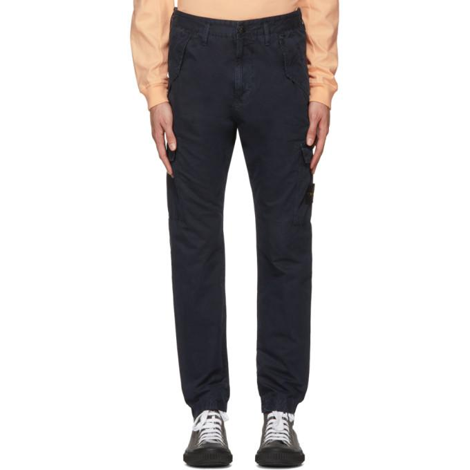 Stone Island Navy Cargo Pants In V0120 Blue