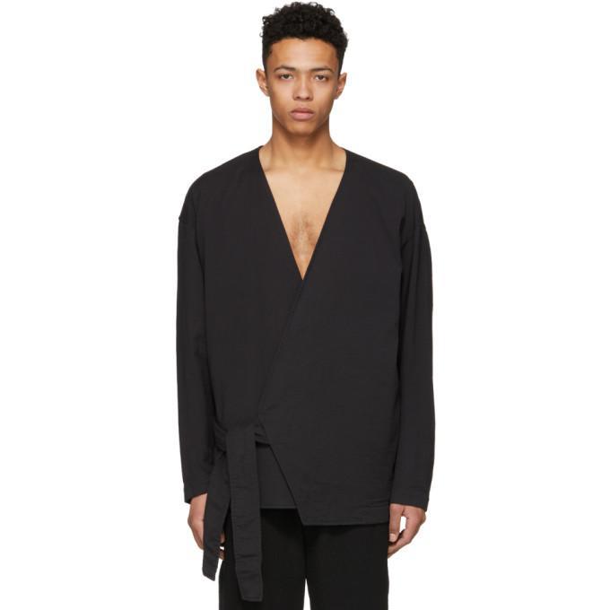 Issey Miyake Black Kimono Tie Shirt