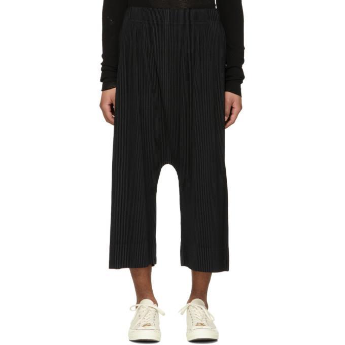 Pleats Please Issey Miyake Wide-leg Pleated Trousers In 15.black