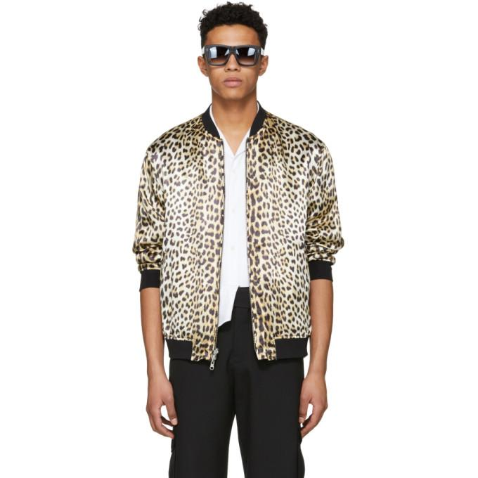 3.1 Phillip Lim Reversible Navy And Leopard Bomber Souvenir Jacket In Leo Le260