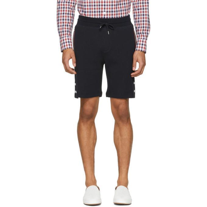 Moncler Gamme Bleu Navy Waffle Knit Lounge Shorts