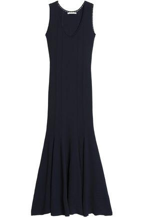 Antonio Berardi Woman Ribbed Knit-paneled Fluted Stretch-knit Gown Midnight Blue