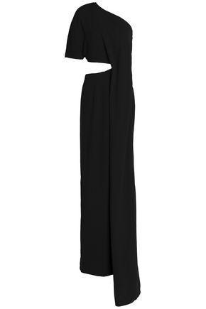 Solace London Woman One-shoulder Draped Cutout Crepe Gown Black