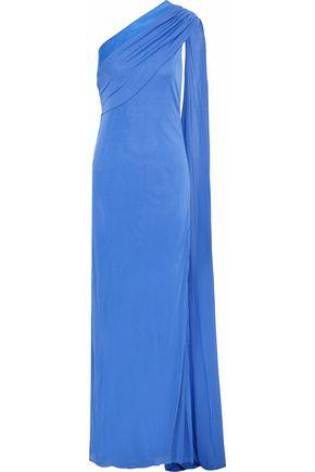 Versace Woman One-shoulder Satin-trimmed Draped Cady Gown Azure