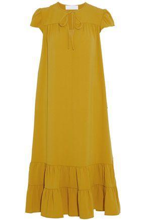 Co Woman Gathered Crepe Midi Dress Marigold