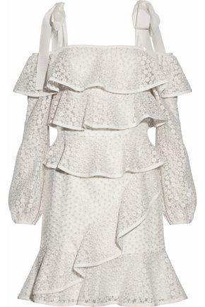 Rebecca Vallance Woman Cold-shoulder Ruffled Embroidered Organza Mini Dress White