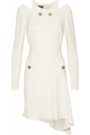 Versace Woman Asymmetric Cutout Button-Embellished Silk Dress Ecru