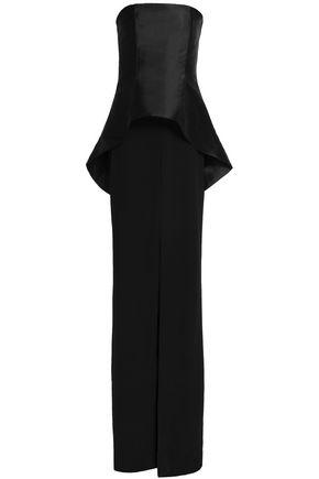 Solace London Woman Strapless Faille-paneled Crepe Gown Black