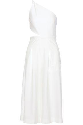 Michelle Mason Woman One-shoulder Cutout Stretch-crepe Jumpsuit Ivory