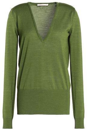 Antonio Berardi Woman Merino Wool And Silk-blend Knitted Top Leaf Green