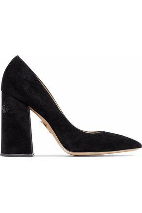 Charlotte Olympia Woman Bead-embellished Suede Pumps Black