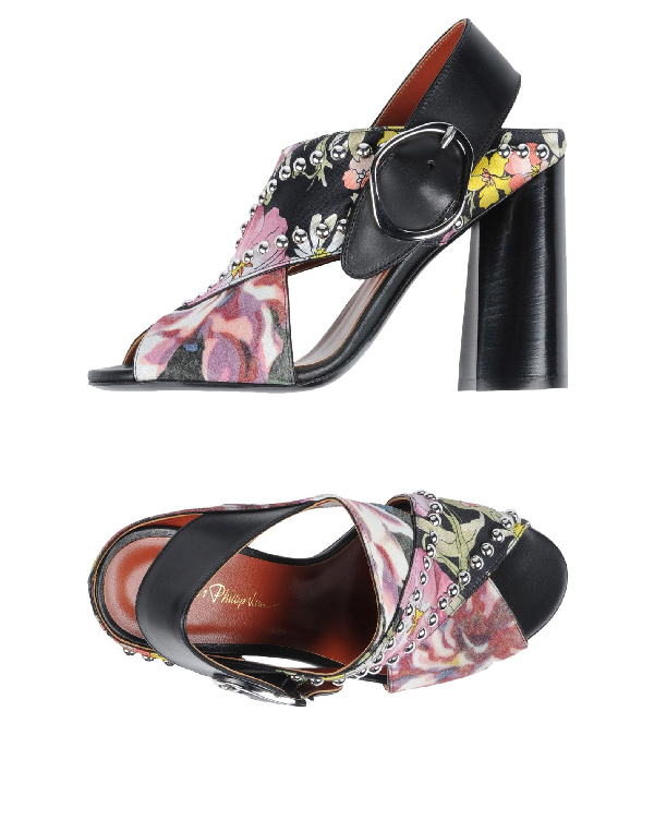 3.1 Phillip Lim Woman Leather-trimmed Studded Printed Twill And Crepe Sandals Black