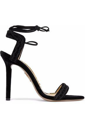 Charlotte Olympia Woman Embroidered Velvet Sandals Black