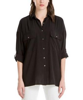 Max Studio Roll-tab Sleeve Utility Shirt In Black