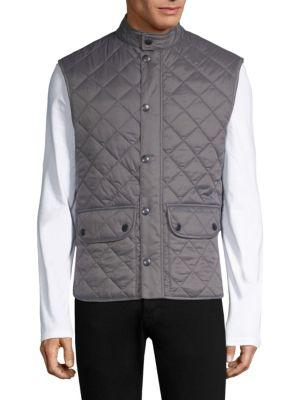 Barbour Lowerdale Quilted Fleece Vest In Grey