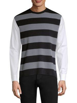 Solid Homme Long-sleeve Stripe Sweatshirt In Black Grey