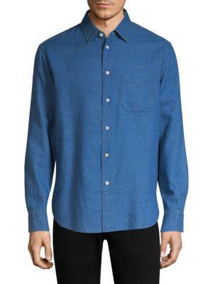 Rag & Bone Long-sleeve Beach Shirt In Washed Indigo
