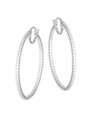 Adriana Orsini PavÉ Crystal Hoop Earrings In Silver