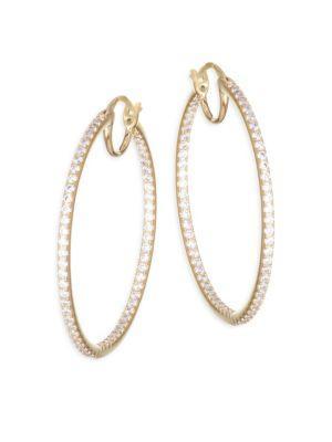 Adriana Orsini PavÉ Crystal Hoop Earrings In Brass