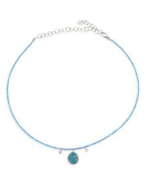 Meira T PavÉ Diamond, Opal & 14k White Gold Pendant Necklace In Multi