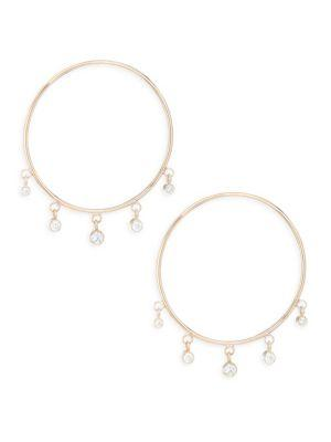 ZoË Chicco Gold Hoop Diamond Drop Earrings In Yellow Gold