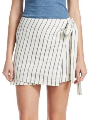 a04c213f7f Theory Wrap-Tie Skirt In Split Stripes In White | ModeSens