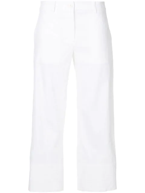 Theory Fluid White Cotton Trouser