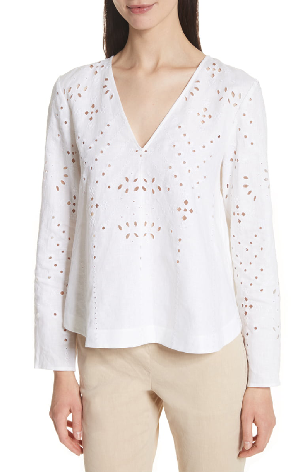 Theory Relaxed V-neck Eyelet Linen Top In White