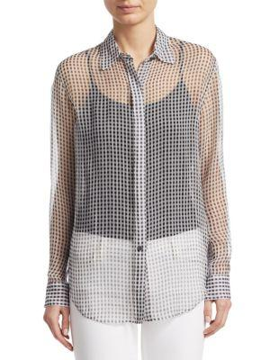 Theory Silk Sheer Button-front Blouse In Black Ivory