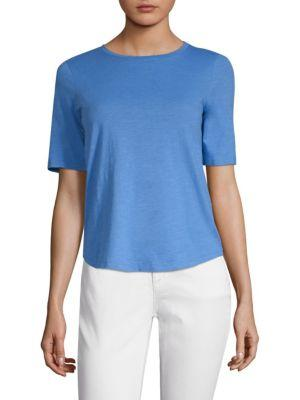 Eileen Fisher Cotton Slub Tee In Bluebell
