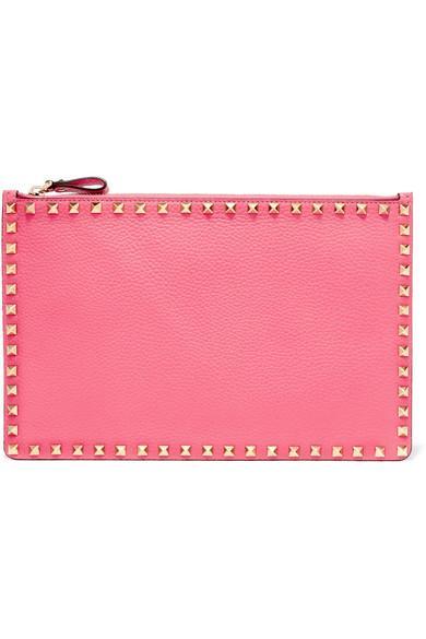 Valentino Garavani The Rockstud Textured-leather Pouch In Bright Pink
