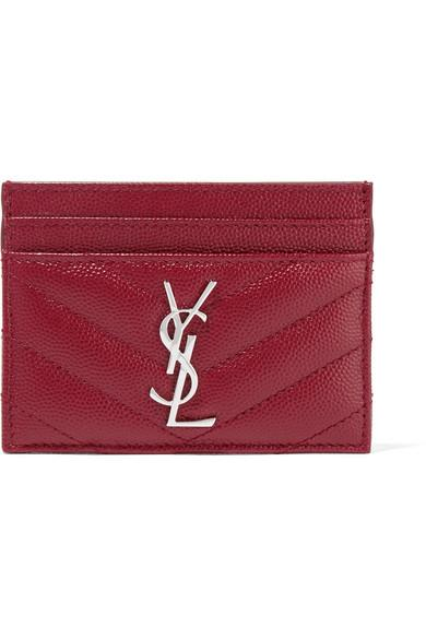 Saint Laurent Quilted Textured-leather Cardholder In Burgundy