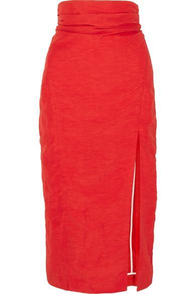 Carmen March Taffeta Midi Skirt In Red